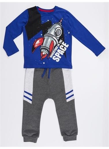 Denokids Uzay Macerası Erkek Çocuk Pantolon Takım Renkli